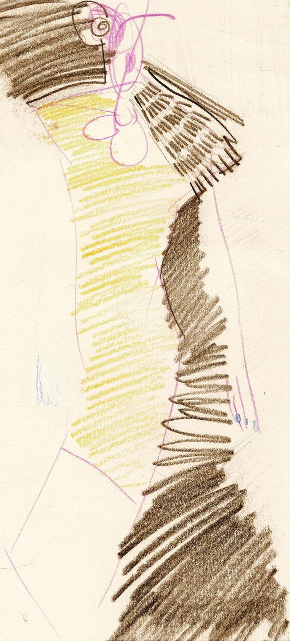 Sketch for the black dress from the collection Tubular Folds. The Bionic Method